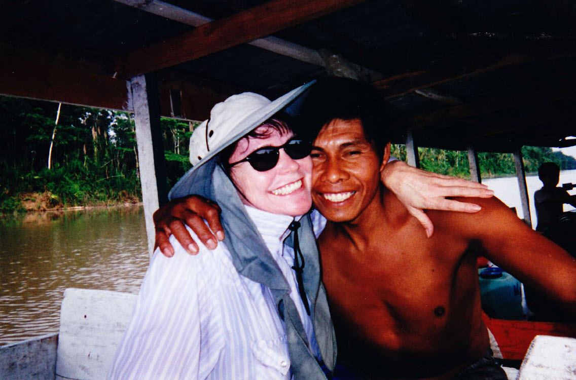 Linda Deir on the Amazon river with her guide, magical Roberto