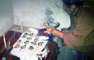 Bolivian Shaman Preparing Sacred Ceremony for Linda Deir