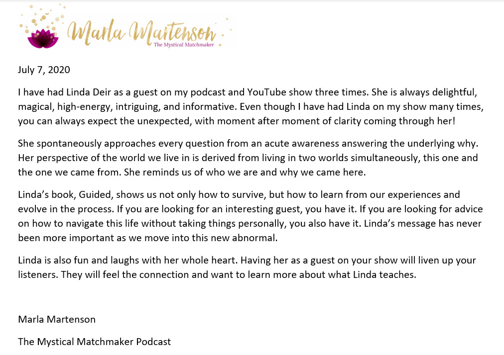 Marla Martenson, The Mystical Matchmaker